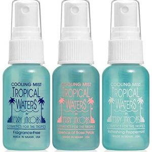 Tropical Waters 3 Piece Travel Set, 1 oz. Bottles, Made in USA Rose Water Make Up Setting Spray, Peppermint Cooling Spray Mist, Fragrance Free Cooling Spray and Facial Mist -Long Lasting, Hydrating